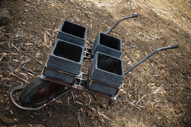 Handcrafted wheelbarrow planter